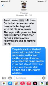 Text Message With Actual Landowner